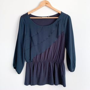 Anthropologie Deletta Navy Alee Peplum Top